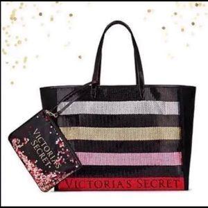 NWT Victoria's Secret sequin tote with wristlet